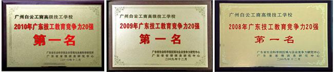 广州白云工商技师学院排名第一牌匾